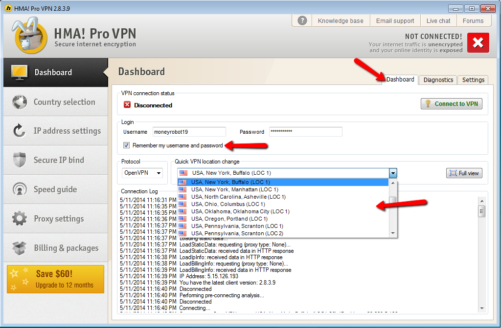 How to configure HMA vpn software to work properly with